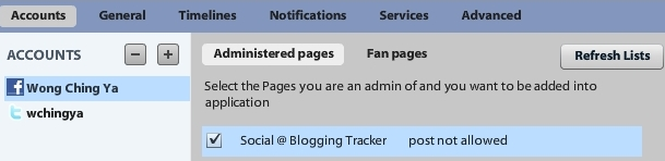add Facebook Pages to Seesmic