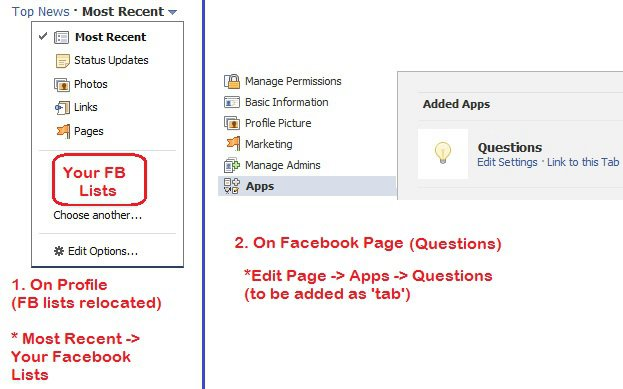 relocated facebook lists in Most Recent and fan page questions