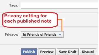 set privacy setting for each published facebook note