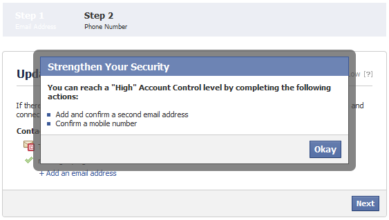 update security level of your personal account