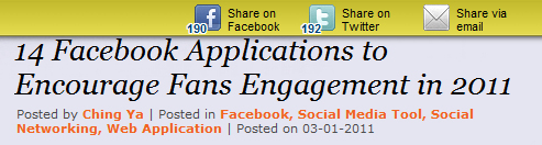 Apture to encourage social sharing with facebook and twitter buttons