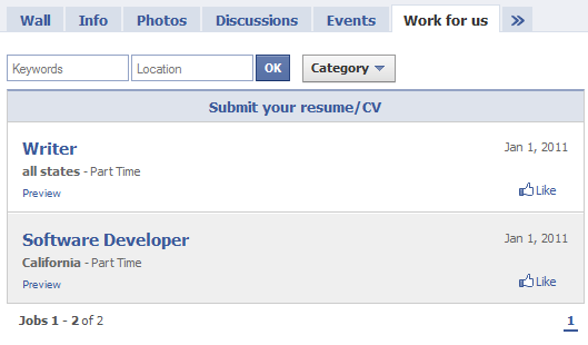 work for us to post job listing on facebook page