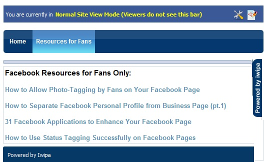 Iwipa has subtabs for fans only content