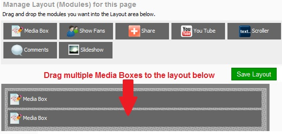 iwipage provides media boxes for easy drag and drop layout