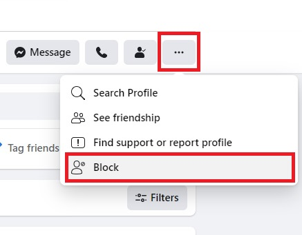 block someone on their facebook profile