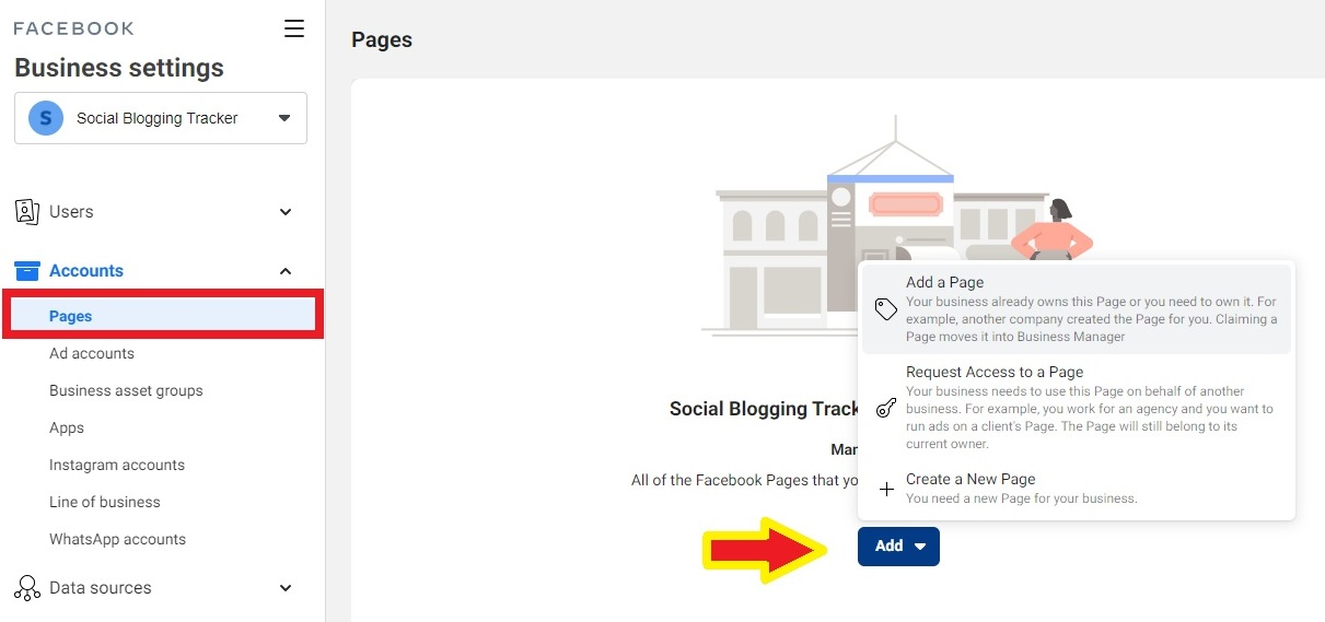 add facebook page to business account