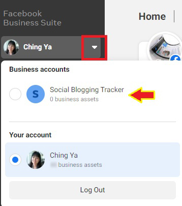 business acc created - business suite view