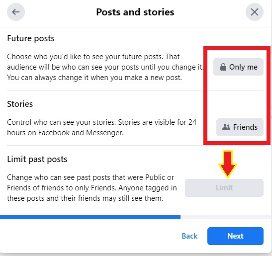 limit past posts on facebook